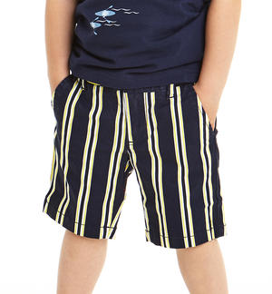 Striped twill short trousers YELLOW