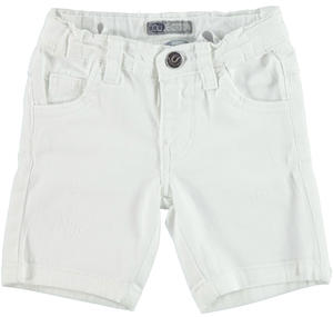 Slim-fit shorts in stretch cotton twill with rips WHITE
