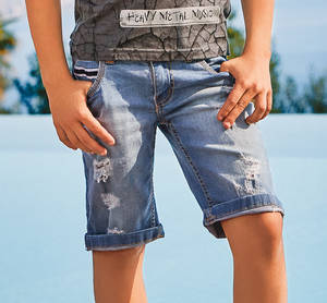 Worn-look stone washed stretch shorts with frayed rips BLUE