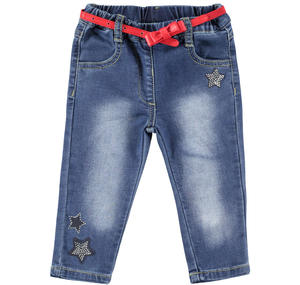Denim trousers baby girl in cotton blend with rhinestone stars BLUE