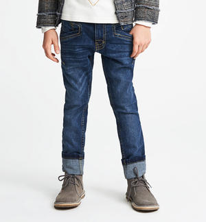 Pantalone denim slim fit con rotture BLU