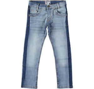 Stretch denim trousers with side band effect BLUE