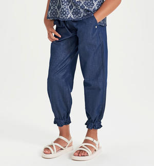 Lurex satin effect trousers BLUE