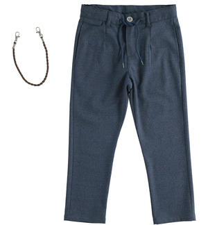 Elegant trousers with drawstring and key ring BLUE