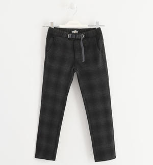 Trousers in soft and warm check fabric GREY