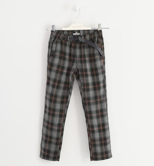 Trousers in soft and warm check fabric BLACK