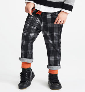 Macro check allover patterned trousers BLACK