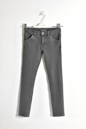Houndstooth trousers made of stretch fleece   GREY