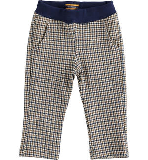 Trousers with pied de poule pattern CREAM