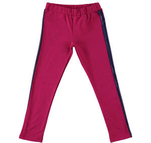 Stretch tracksuit bottoms with side strips in leather effect fabric RED