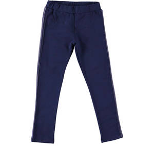 Stretch tracksuit bottoms with side strips in leather effect fabric BLUE