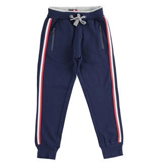Internally brushed trousers with contrasting double elastic waistband BLUE