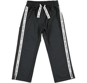 Acetate tracksuit bottoms with two side bands BLACK