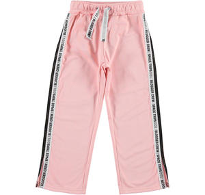 Acetate tracksuit bottoms with two side bands PINK