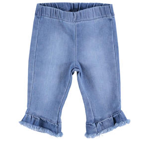 Baby girl trousers in stretch cotton with a denim effect BLUE