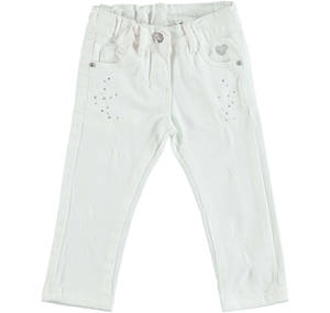 Stretch cotton trousers with rips enriched by patches WHITE
