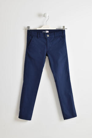 Stretch cotton slim model trousers for boy BLUE