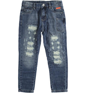 100% cotton denim trousers with tears