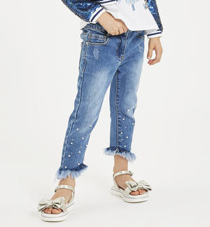 Denim trousers with pearls and rhinestones