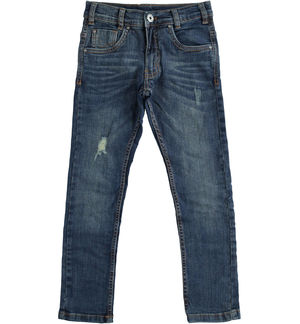 Denim trousers with tears for boy BLUE