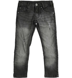 Denim trousers with tears for boy BLACK