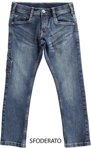 Denim trousers with horse-shaped pocket BLUE