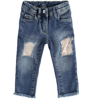 Pantalone in denim con toppe di paillettes BLU