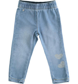 Knitted denim trousers with hearts BLUE