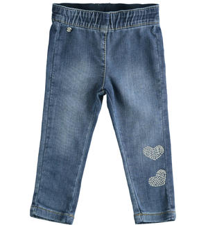 Knitted denim trousers with hearts