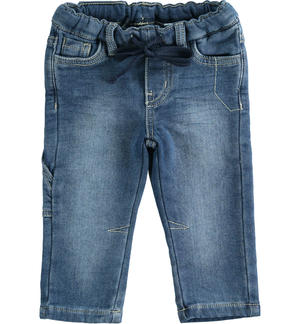 Very soft knitted denim trousers