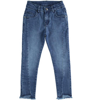 Stretch denim trousers with seam on the leg and high waist BLUE
