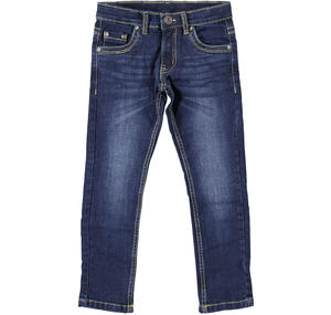 Pantalone in denim stretch con porta chiavi BLU