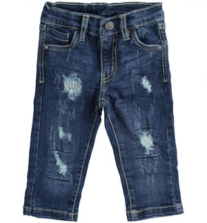 Pantalone in denim stretch con strappi BLU