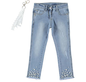 Girl slim denim trousers with pearls sewn on the bottom