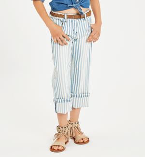 Trousers made of cotton drill in sunbed-like stripe pattern