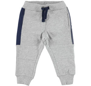 Fleece tracksuit bottoms with contrasting inserts  GREY