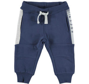 Fleece tracksuit bottoms with contrasting inserts  BLUE