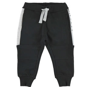Fleece tracksuit bottoms with contrasting inserts  BLACK