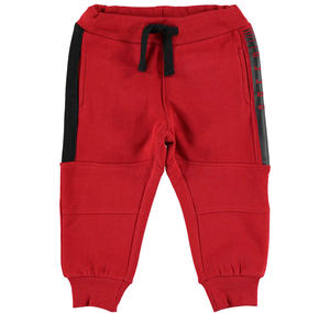Fleece tracksuit bottoms with contrasting inserts  RED