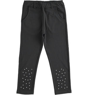 Fleece trousers with small studs on the bottom BLACK