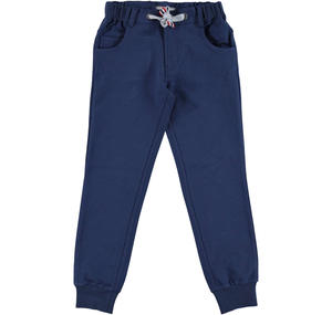 Fleece tracksuit bottoms with ankle cuffs  BLUE