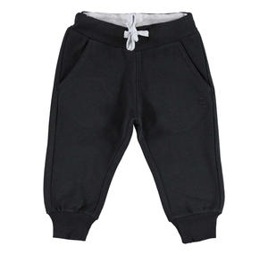 Fleece tracksuit bottoms with ankle cuffs   BLACK