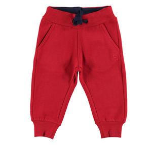 Fleece tracksuit bottoms with ankle cuffs   RED