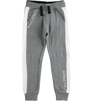 Fleece trousers with numerical print GREY
