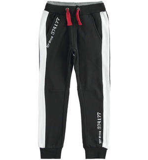 Fleece trousers with numerical print BLACK
