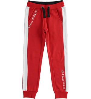Fleece trousers with numerical print RED