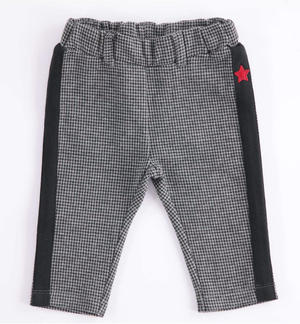 Fleece newborn trousers with hounds-tooth print GREY