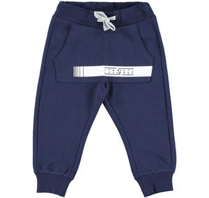 Fleece tracksuit bottoms with kangaroo pocket   BLUE
