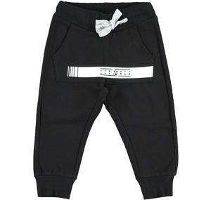 Fleece tracksuit bottoms with kangaroo pocket   BLACK