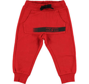 Fleece tracksuit bottoms with kangaroo pocket   RED